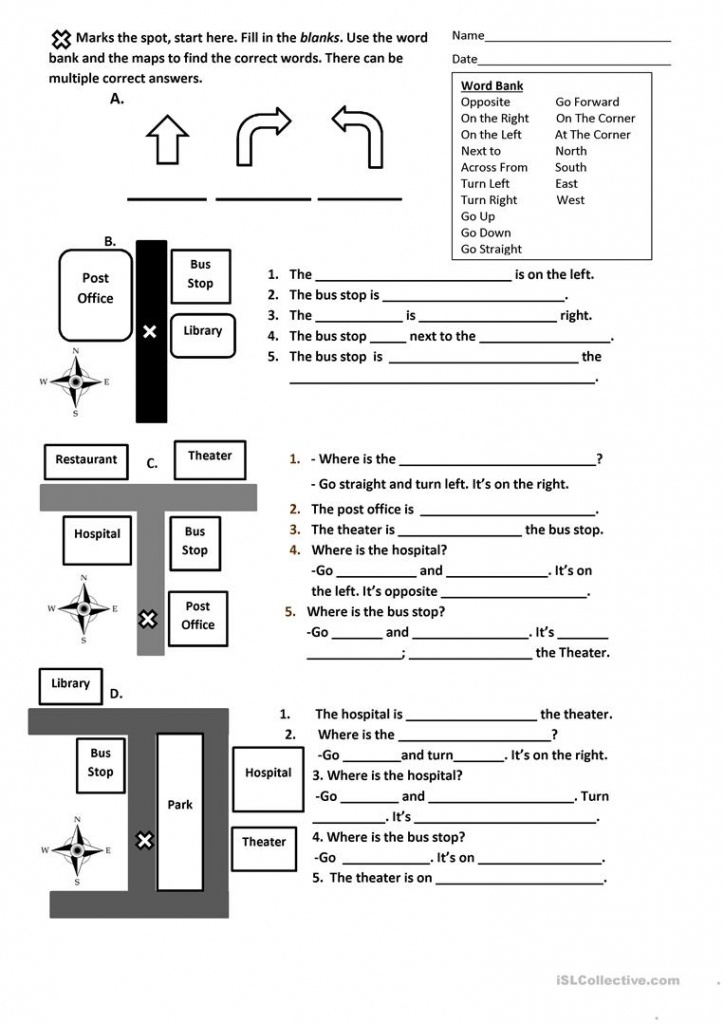 Directions, Prepositions And Maps Worksheet Worksheet - Free Esl - Free Printable Direction Maps