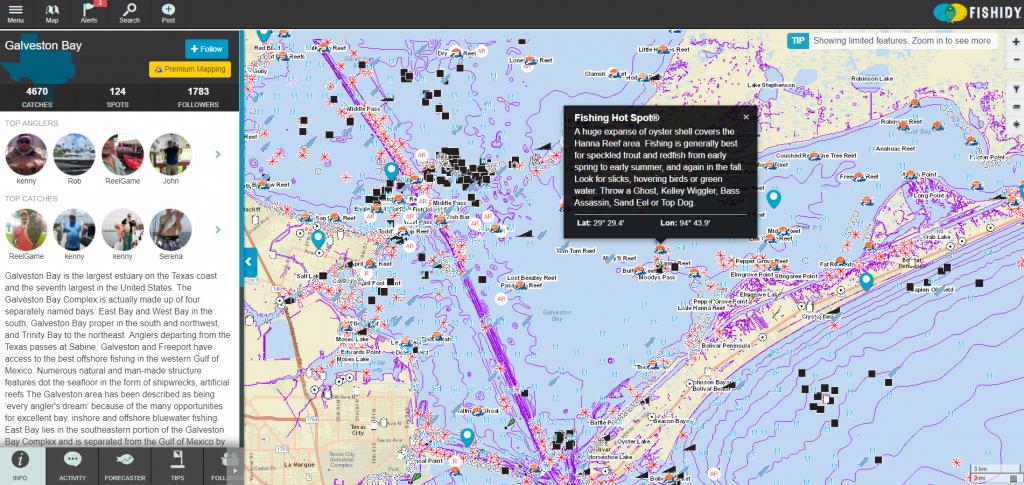 Discover Fishing Hot Spots On Galveston Bay!   Texas Fishing Spots - Texas Fishing Hot Spots Maps