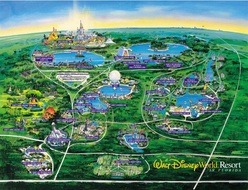 Disney World Map - Orlando • Mappery - Disney Parks Florida Map