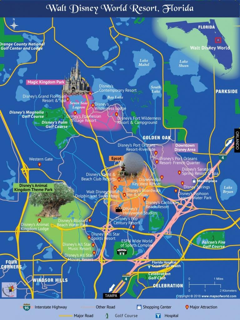 Disney World Map | Travel In 2019 | Disney World Map, Disney Map - Map Of Florida Showing Disney World