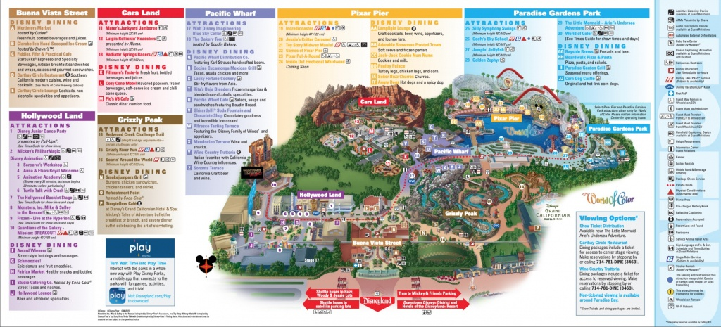 Disneyland Park Map In California, Map Of Disneyland - California Adventure Map 2017 Pdf