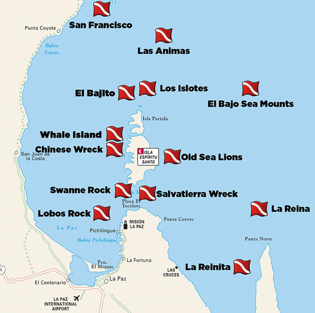 Dive-Sites-La-Paz - Divers Inn Mx | B&b For Diversdivers | La - La Paz Baja California Map