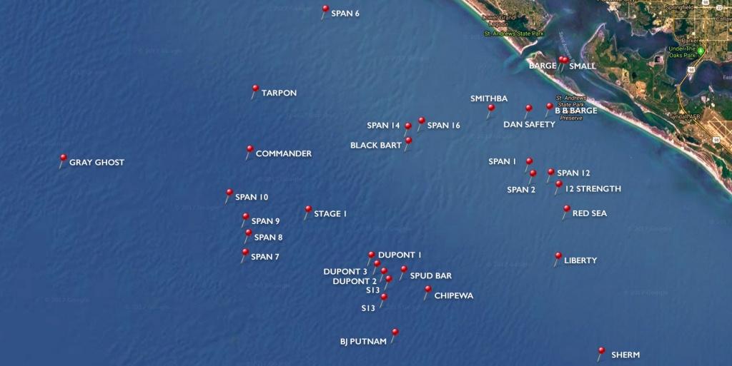 Dive Sites | Panama City Diving - Florida Dive Sites Map