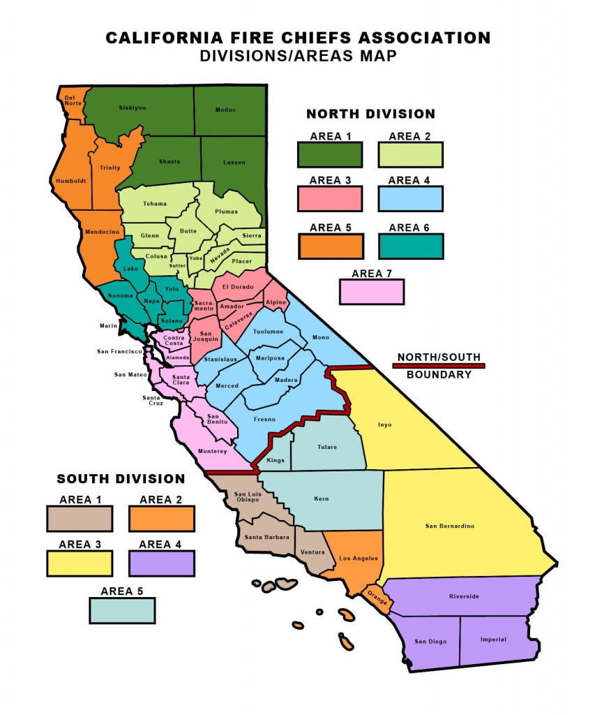 Divisions And Area Map - California Fire Chiefs Association - Where Are The Fires In California Right Now Map