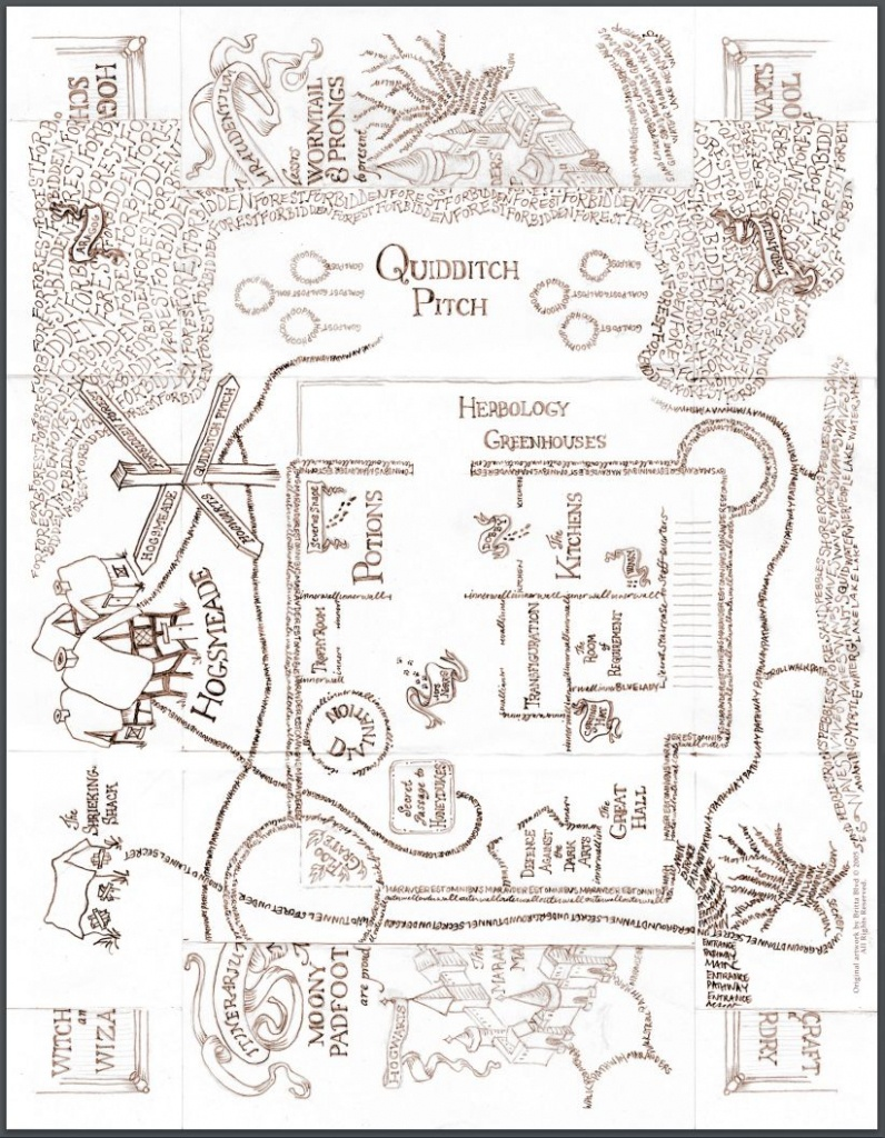 Diy: Printable Hogwarts Map | Kid Crafts | Harry Potter Marauders - Hogwarts Map Printable