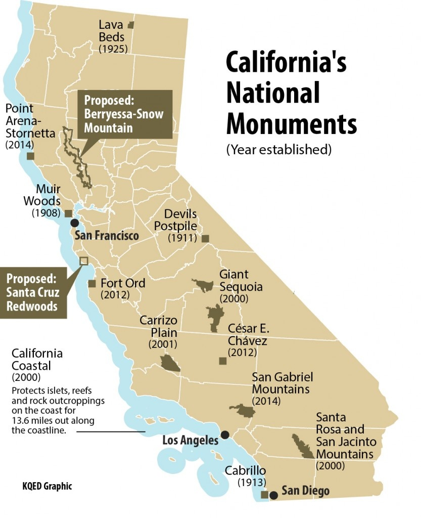 Does California Need More National Monuments? | Kqed Science - Map Of California National Parks And Monuments