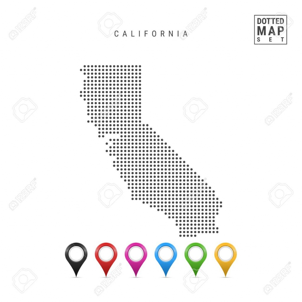 Dots Pattern Vector Map Of California. Stylized Simple Silhouette - Simple Map Of California