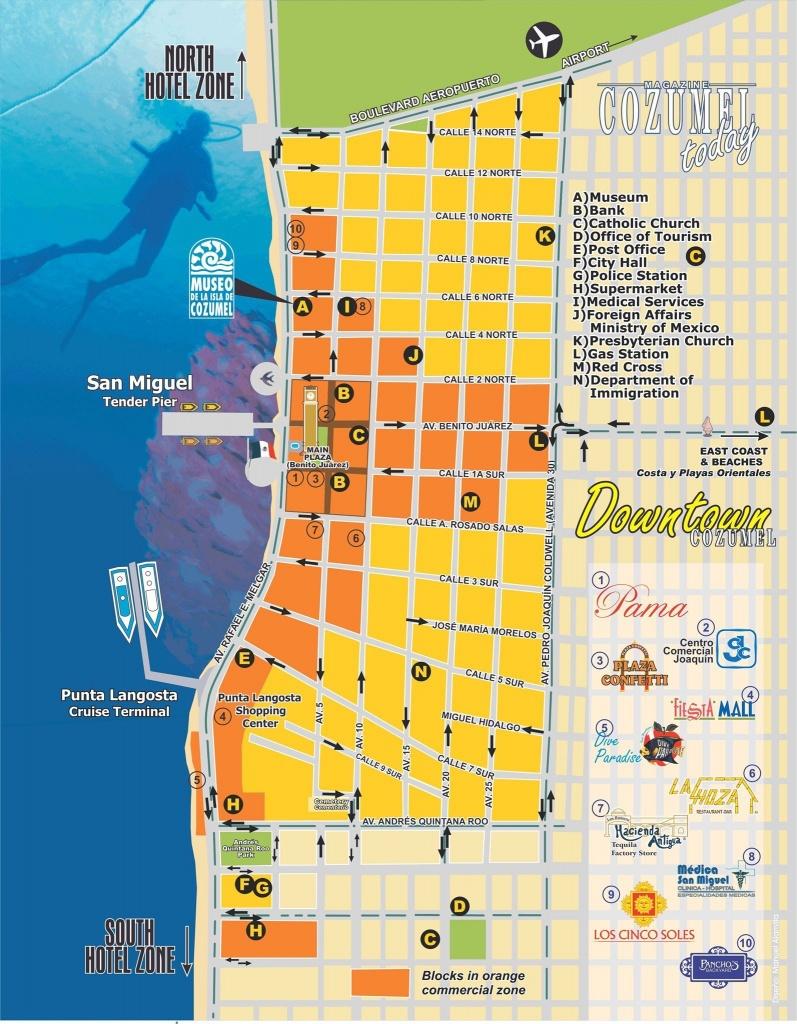 Downtown Cozumel Map   Cozumel In 2019   Cozumel Cruise, Cozumel - Printable Street Map Of Cozumel