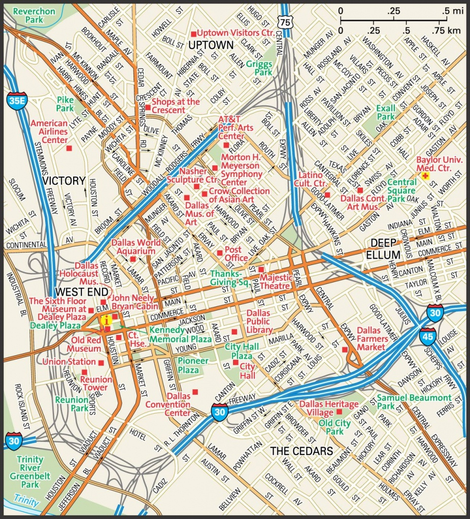 Downtown Dallas Map And Guide   Downtown Dallas Street Map   Travel - Street Map Of Dallas Texas