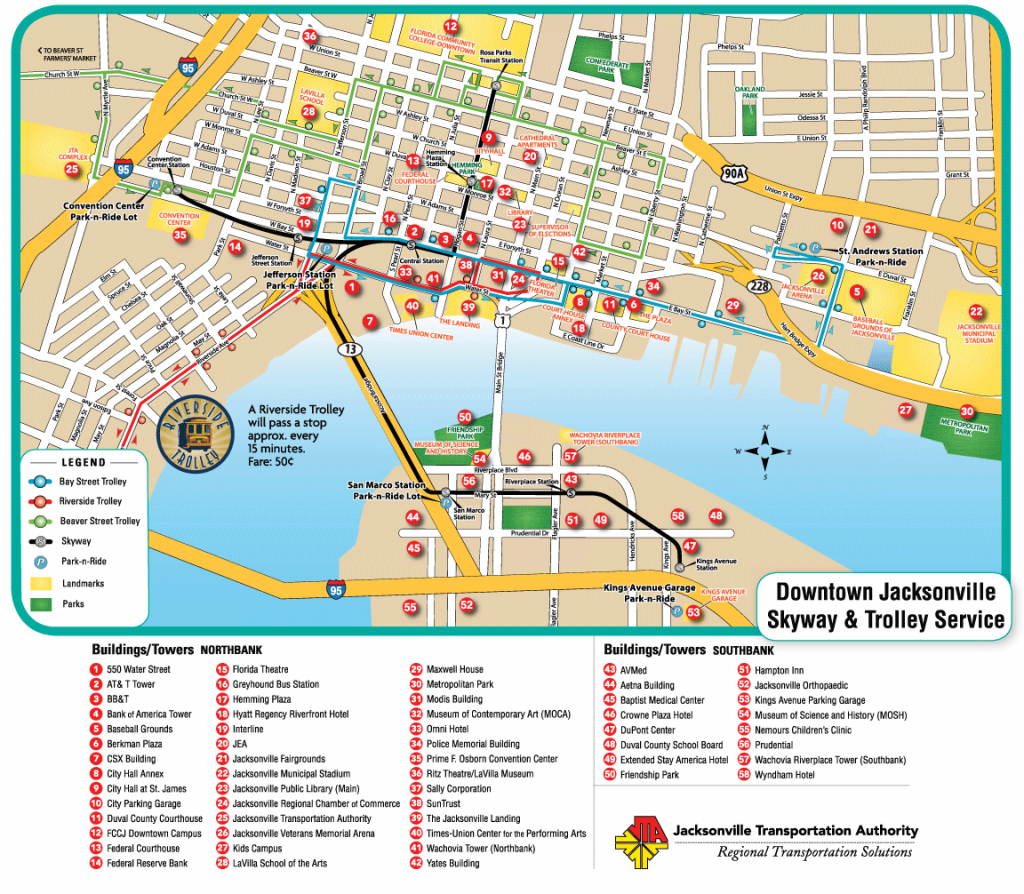 Downtown Jacksonville Nc | Jacksonville Downtown Transport Map - Map Of Hotels In Jacksonville Florida