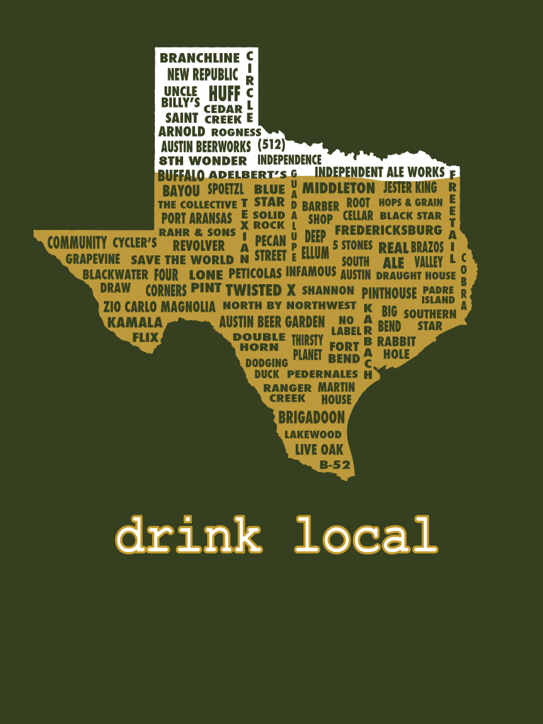 Drink Local-Texas Beer T-Shirt · Uncomfortable Yeti · Online Store - Texas Breweries Map