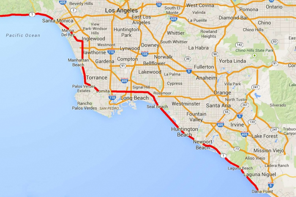 Drive The Pacific Coast Highway In Southern California - California Pacific Coast Highway Map
