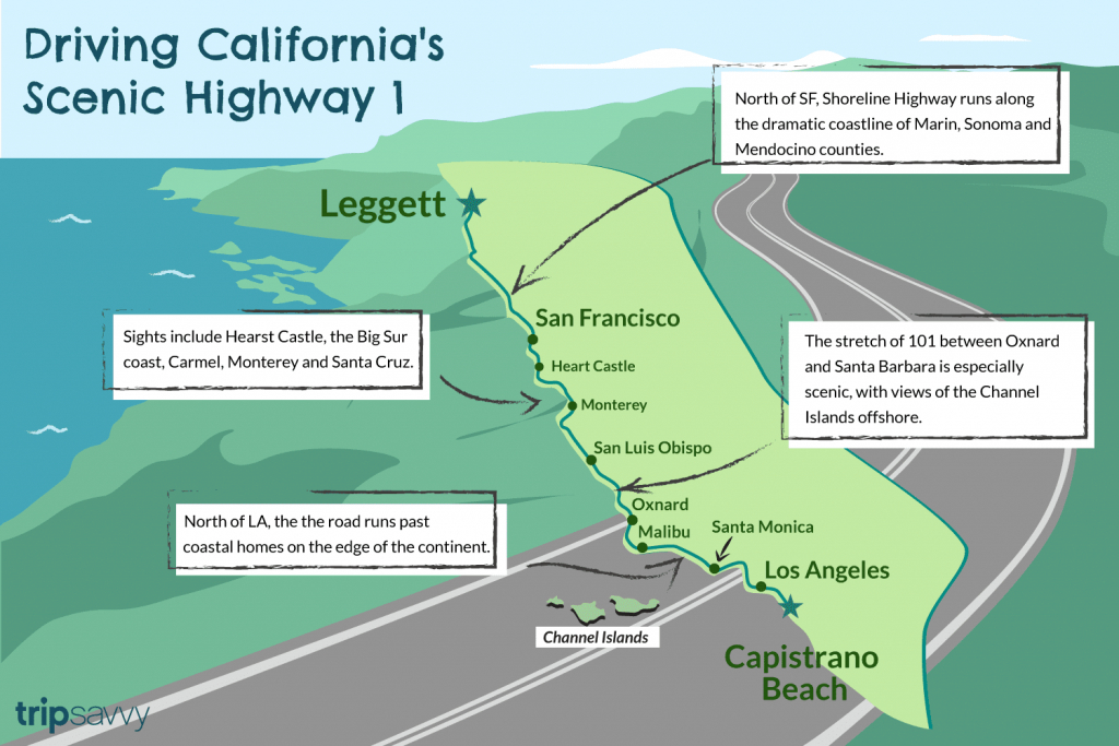 Driving California's Scenic Highway One - California Highway 1 Road Trip Map