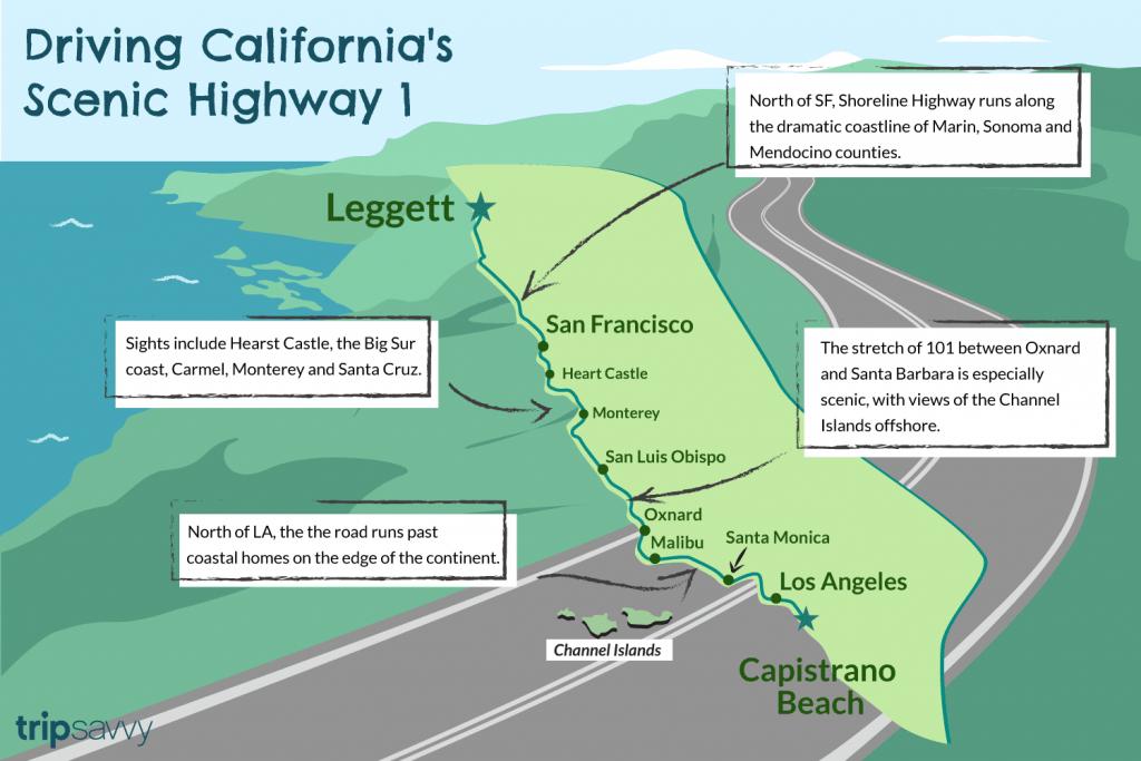 Driving California's Scenic Highway One - California Highway 1 Scenic Drive Map