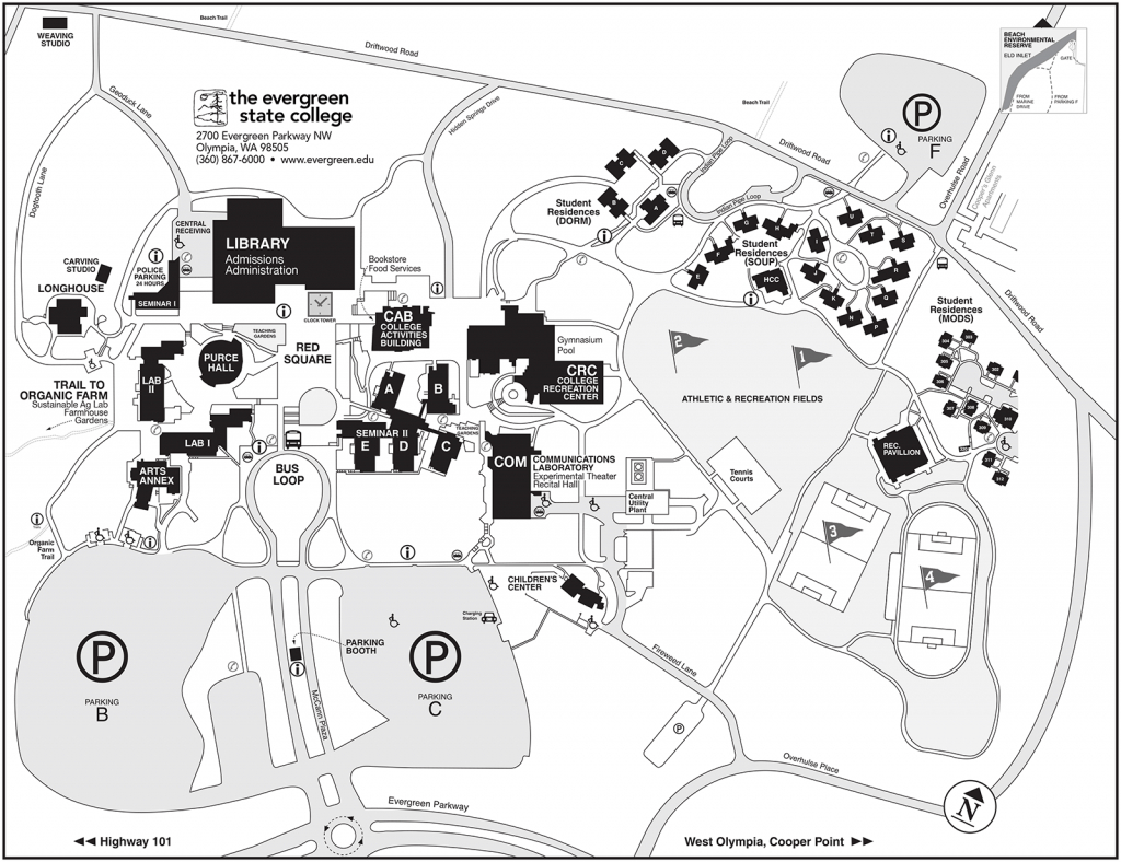 Driving Directions And Map | The Evergreen State College - Printable Driving Directions Map