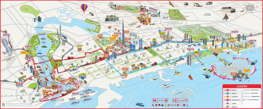 Dubai Attractions Map Pdf - Free Printable Tourist Map Dubai, Waking - Dubai Tourist Map Printable