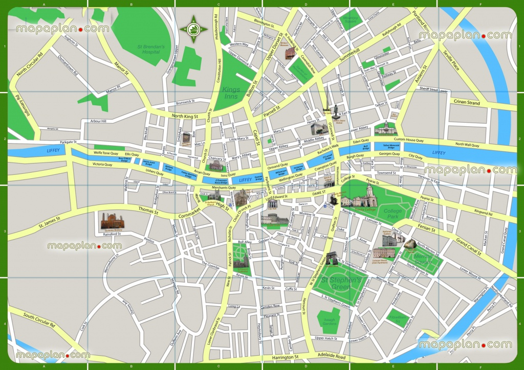 Dublin Map - Printable Walking Map Of Favourite Points Of Interest - Dublin Tourist Map Printable