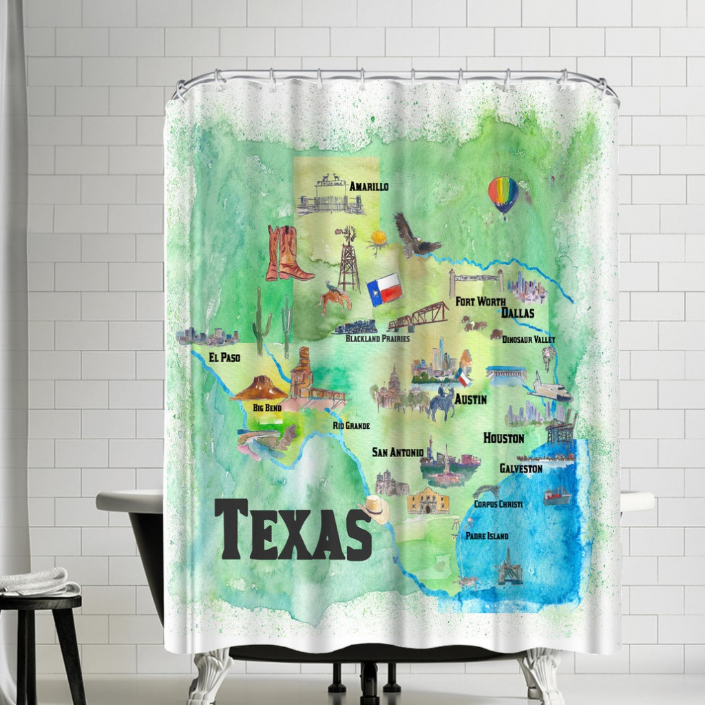 East Urban Home M Bleichner Texas State Travel Map Shower Curtain - Texas Map Shower Curtain