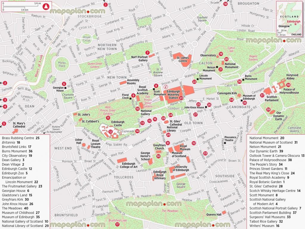 Edinburgh Maps - Top Tourist Attractions - Free, Printable City - Edinburgh City Map Printable