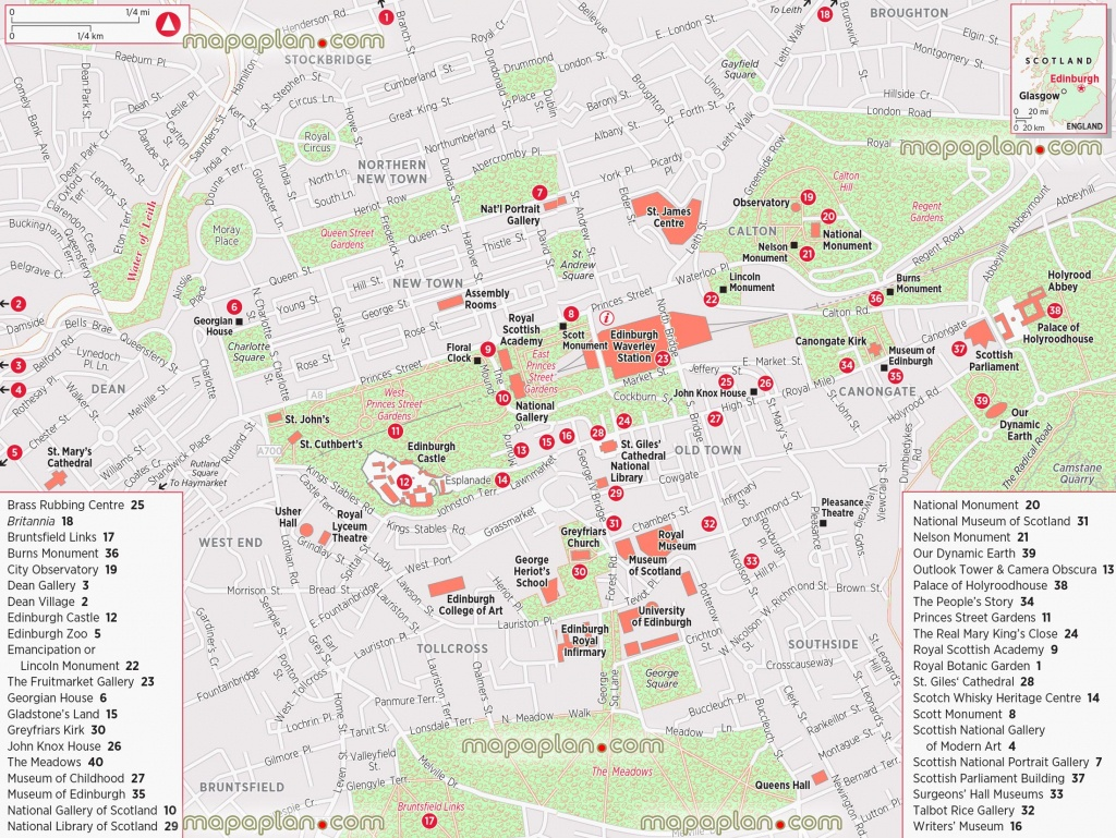 Edinburgh Maps - Top Tourist Attractions - Free, Printable City - Printable Map Of Edinburgh