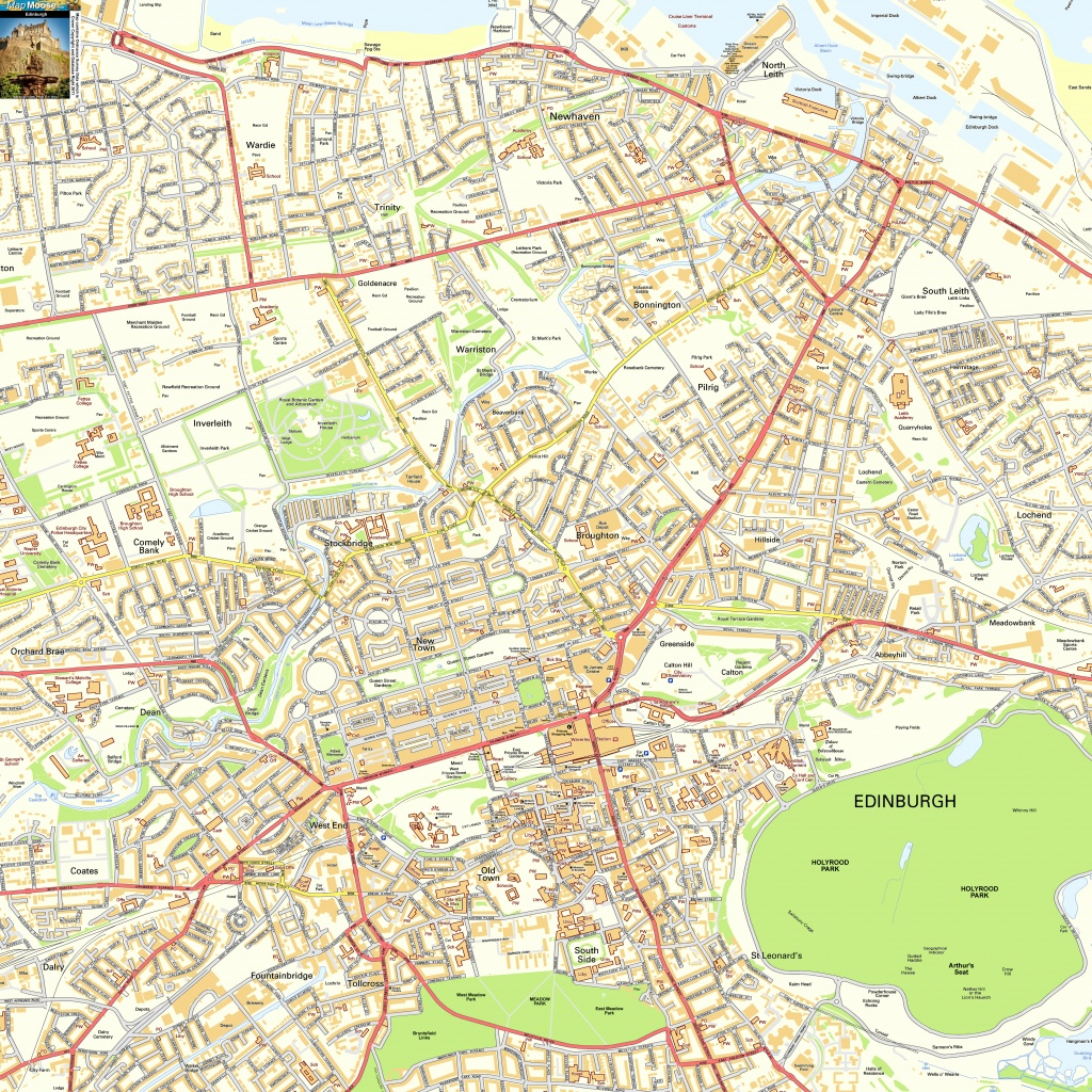 Edinburgh Offline Street Map, Including Edinburgh Castle, Royal Mile - Edinburgh City Map Printable