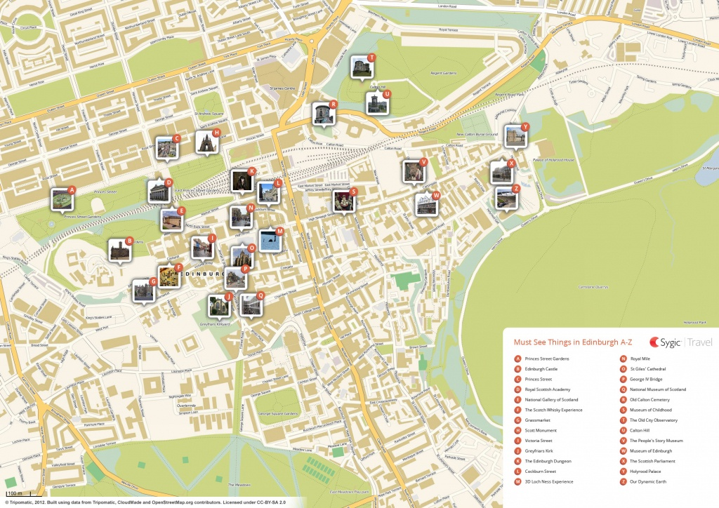 Edinburgh Printable Tourist Map | Sygic Travel - Edinburgh Street Map Printable