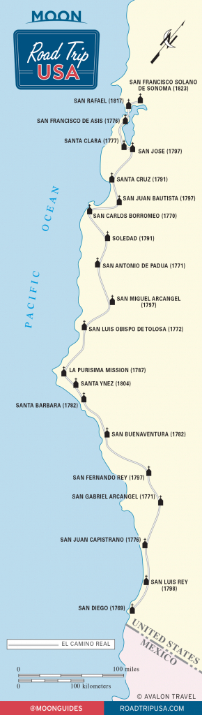 El Camino Real And The California Missions | Road Trip Usa - California Missions Map
