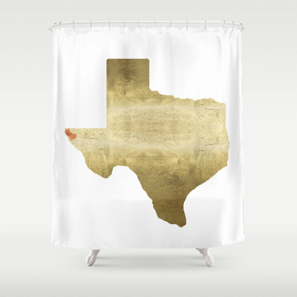 El Paso Hearts Texas Map Gold Foil Shower Curtainhuntleigh - Texas Map Shower Curtain