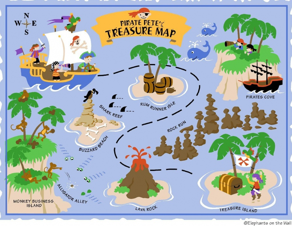 Elephants On The Wall D I Y Paint A Mural, Pirate - Clip Art Library - Printable Kids Pirate Treasure Map