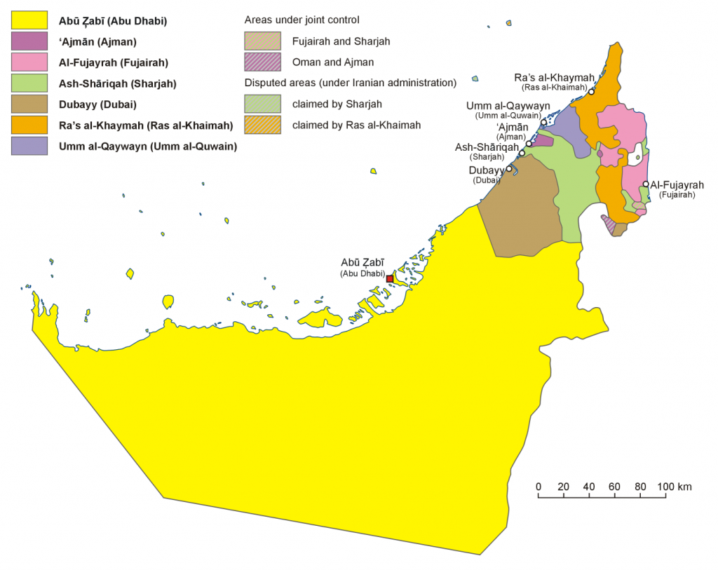 Emirates Of The United Arab Emirates - Wikipedia - Outline Map Of Uae Printable