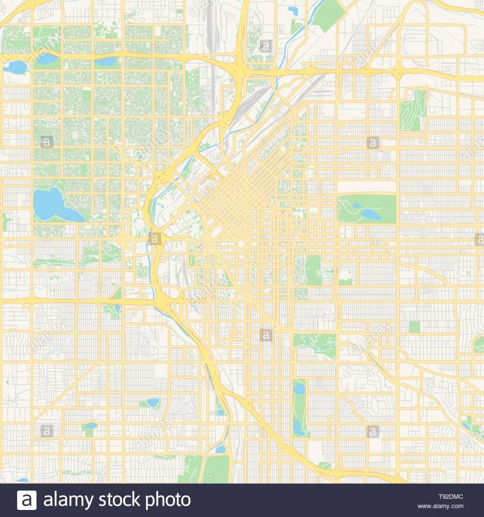 Empty Vector Map Of Denver, Colorado, Usa, Printable Road Map - Printable Road Map Of Colorado