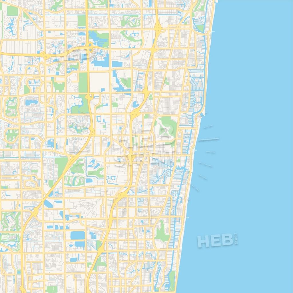 Empty Vector Map Of Pompano Beach, Florida, Usa   Hebstreits Sketches - Pompano Florida Map