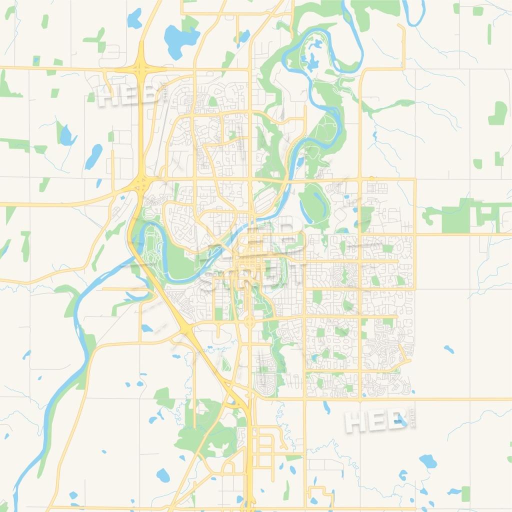 Empty Vector Map Of Red Deer, Alberta, Canada   Hebstreits Sketches - Printable Red Deer Map