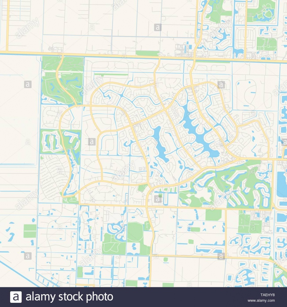Empty Vector Map Of Wellington, Florida, Usa, Printable Road Map - Wellington Florida Map