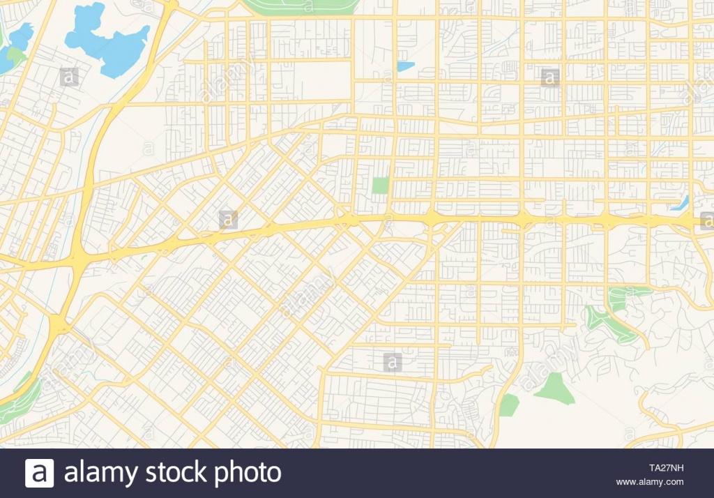 Empty Vector Map Of West Covina, California, Usa, Printable Road Map - West Covina California Map