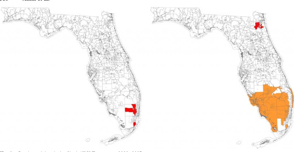Epidemiologic Mapping Of Florida Childhood Cancer Clusters - Map Of Cancer Clusters In Florida