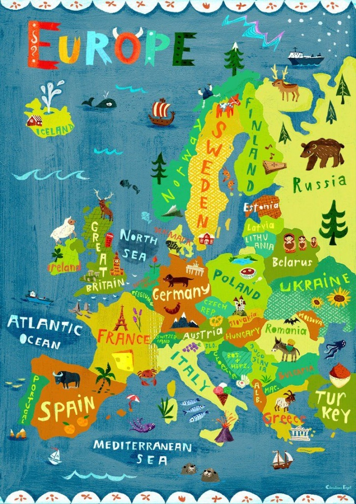 Europe Map Illustration / Digital Print Poster / Kids Room   Etsy - Europe Travel Map Printable