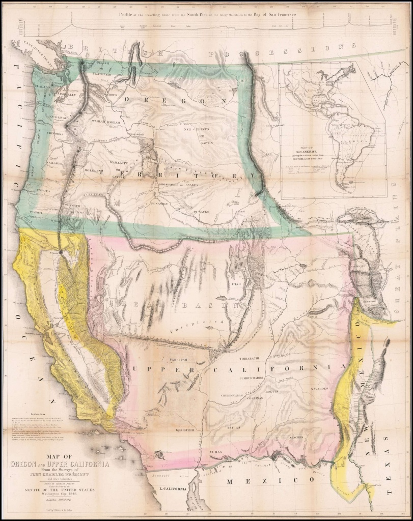 Extremely Rare California Gold Rush Edition Of Fremont's Epochal Map - Gold In California Map