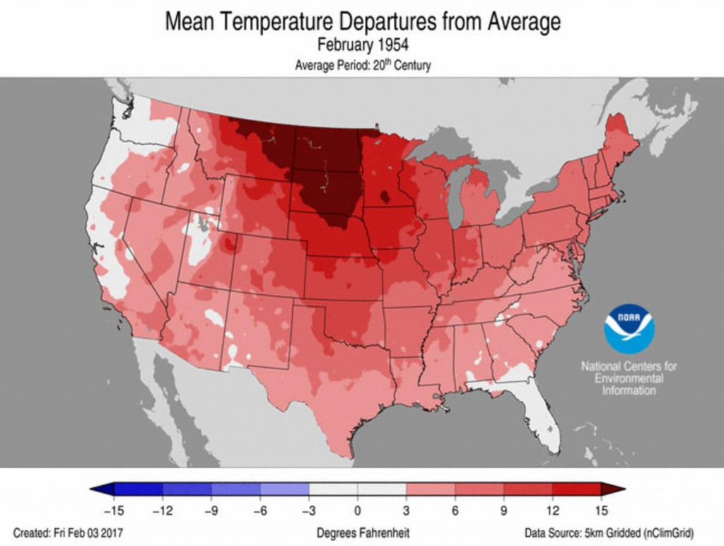 February-1954-Us-Avg-Temp-Departures-From-Avg-Map - Weathernation - Florida Temp Map