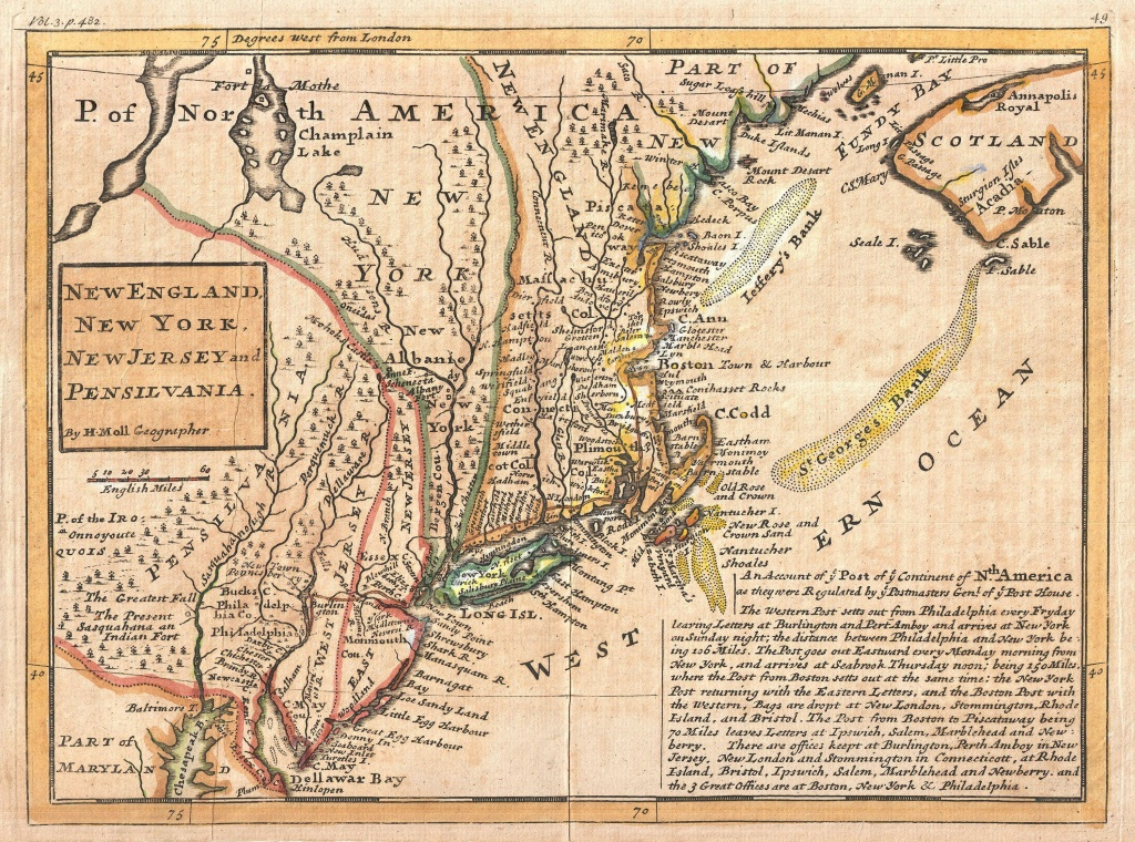 File:1729 Moll Map Of New York, New England, And Pennsylvania (First - New England Colonies Map Printable