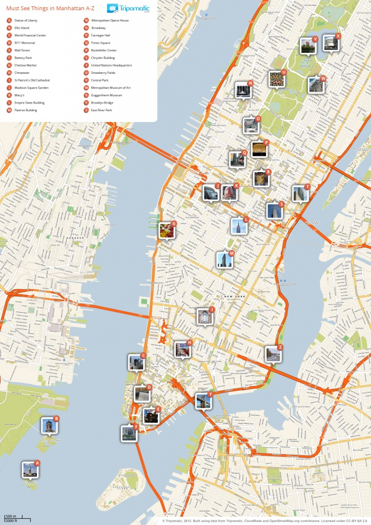File:new York Manhattan Printable Tourist Attractions Map - Free Printable Map Of New York City
