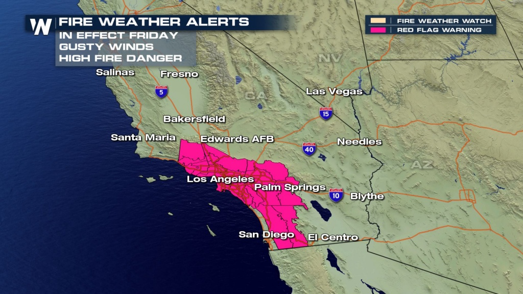 Fire Weather Warnings Issued For California Again - Weathernation - Fire Watch California Map