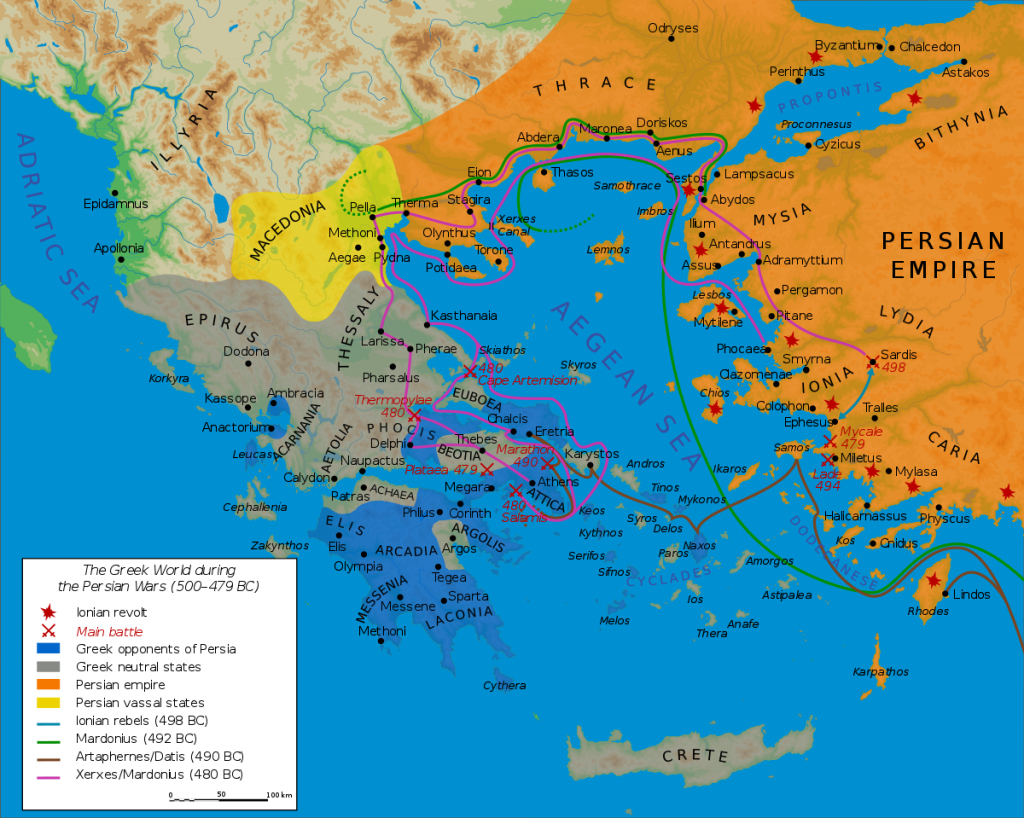 First Persian Invasion Of Greece - Wikipedia - Ancient Greece Map For Kids Printables
