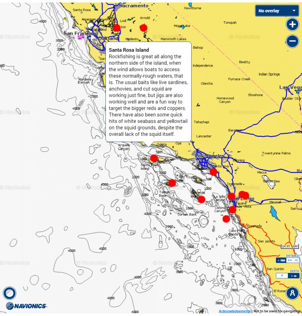 Fishing Hot Spots Chart | Navionics Boating - Bdoutdoors - Southern California Fishing Spots Map