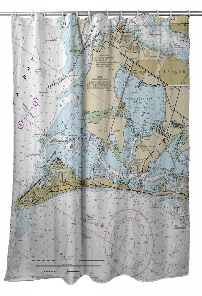 Fl: Anna Maria Island, Fl Nautical Chart Shower Curtain - Florida Map Shower Curtain