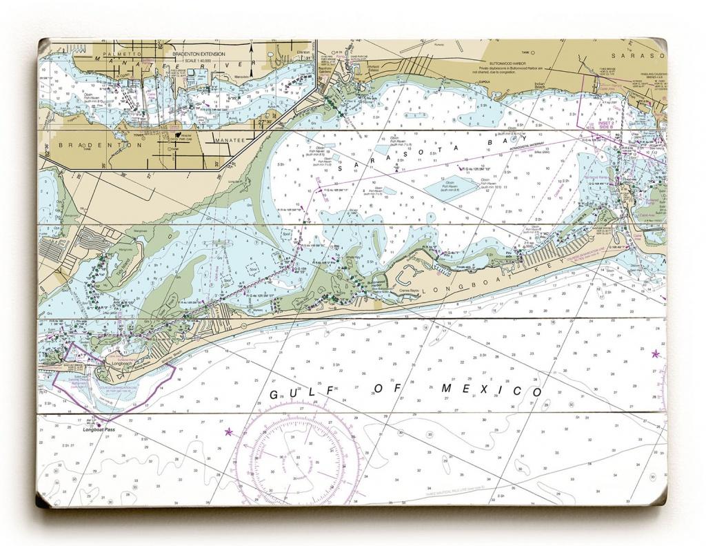 Fl: Longboat Key, Fl Nautical Chart Sign - Florida Keys Nautical Map