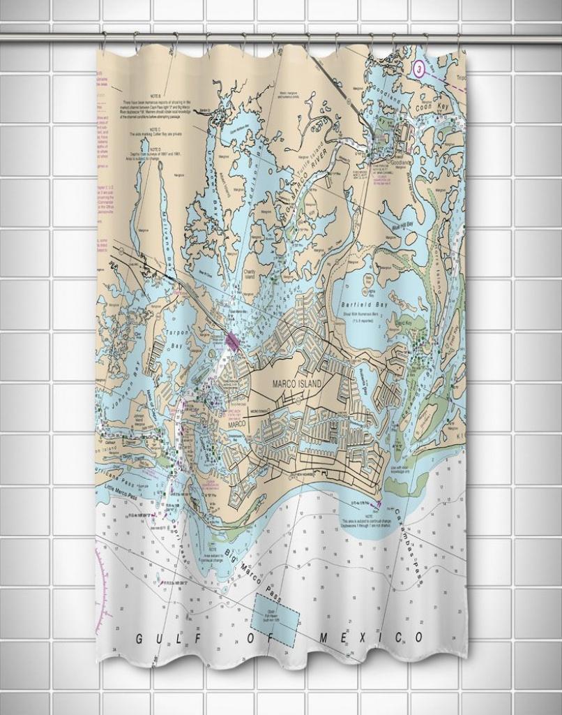 Fl: Marco Island, Fl Nautical Chart Shower Curtain   Nautical Chart - Florida Map Shower Curtain