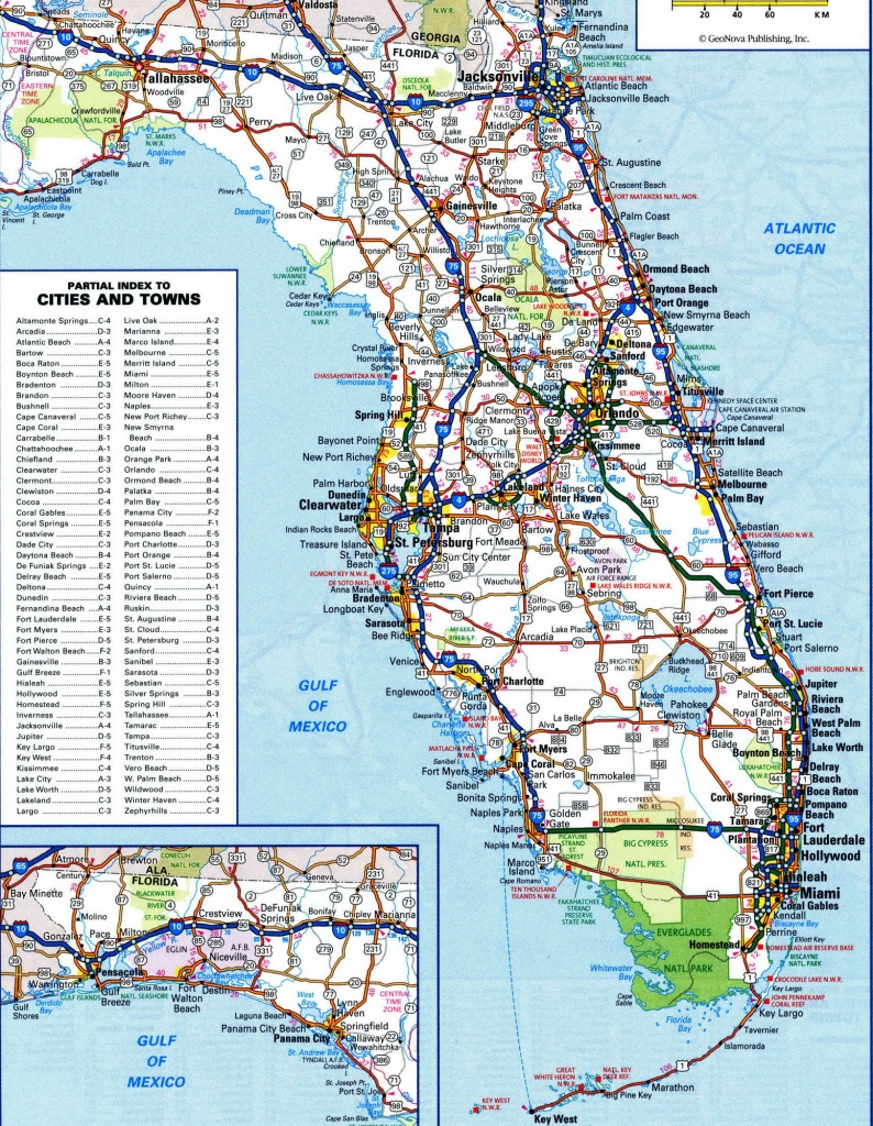 Fl Road Map And Travel Information | Download Free Fl Road Map - Road Map Of Florida Panhandle