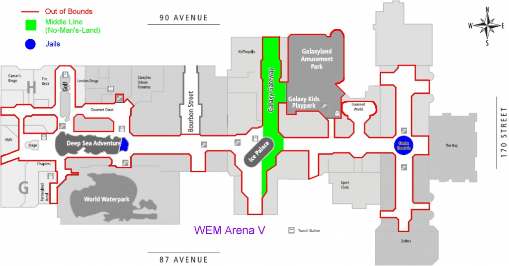 Flags, A Capture The Flag Style Sport. - Printable West Edmonton Mall Map