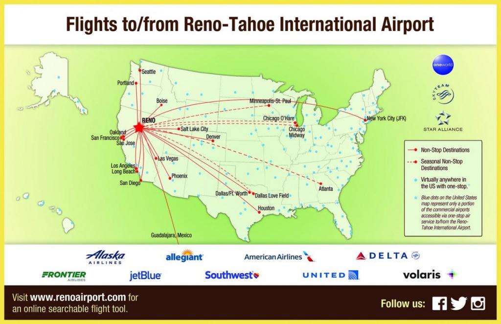 Flight Info: Non-Stop Destinations | Reno-Tahoe International Airport - California Destinations Map